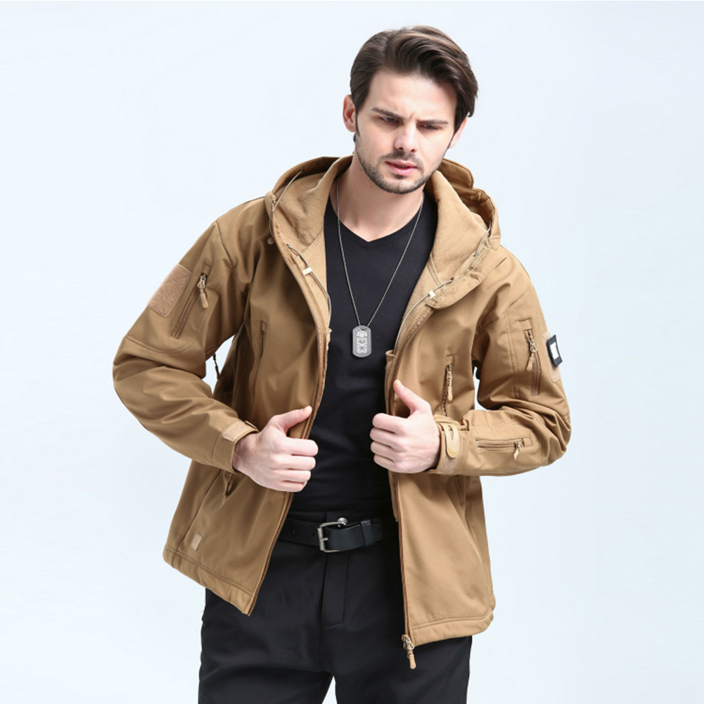 Men Outdoor 3 in 1 Waterproof Fleece Jacket Khaki_S