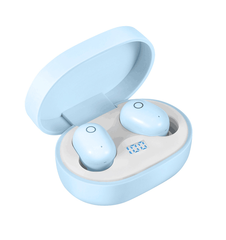 Wireless Earphone for IOS Android Cellphones Bluetooth V5.0 LED Display With Charging Bin Power Bank  blue