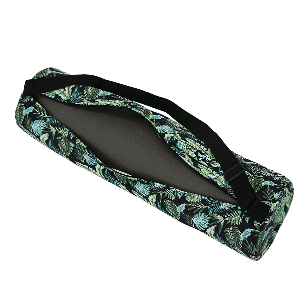 Waterproof Printed Canvas Yoga Bag One Shoulder Mat Storage Bag Pilates Floor Exercis Fitness Forest green
