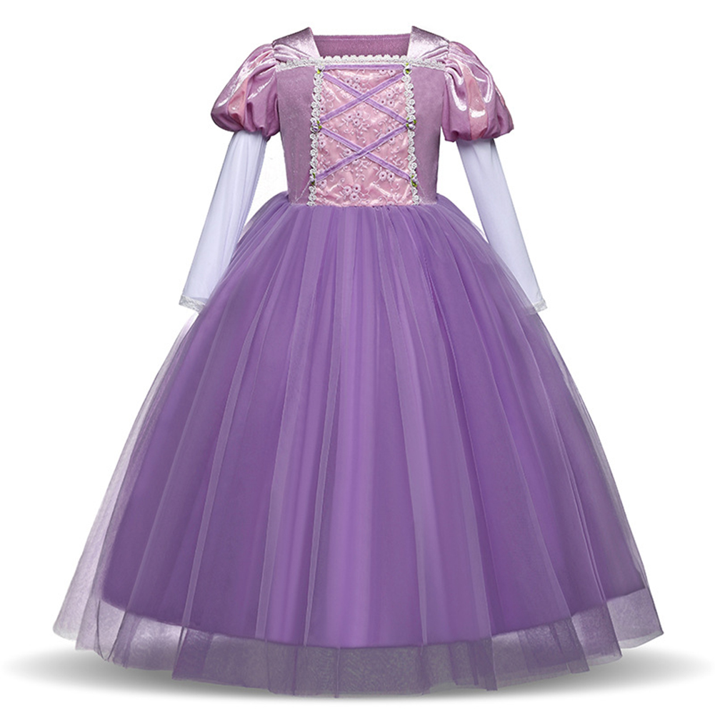 Girl Delicate Lace Long Dress Elegant Lovely Fluffy Princess Dress for Halloween Show purple_110cm