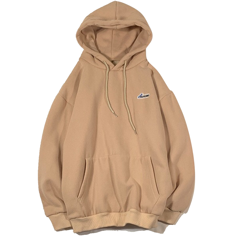 Men Women Hoodie Sweatshirt Letter Solid Color Loose Fashion Pullover Tops Apricot_M