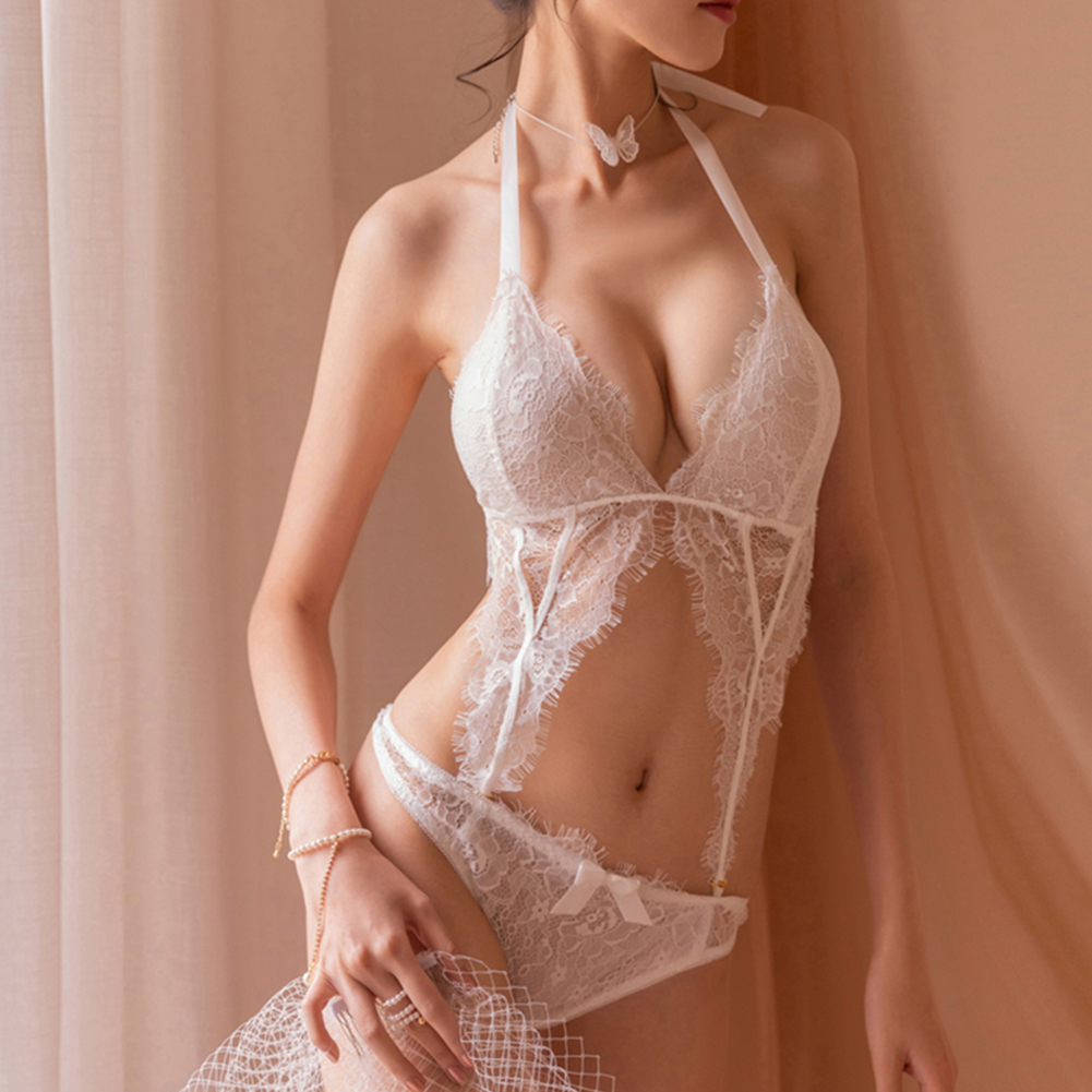 Woman Lace Sexy Underwears Suit Deep V-neck See-through Soft Gauze Jumpsuit Nightwear white_Free size