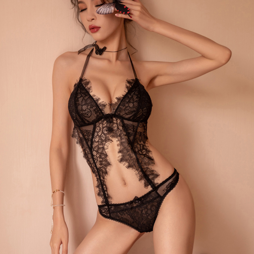 Woman Lace Sexy Underwears Suit Deep V-neck See-through Soft Gauze Jumpsuit Nightwear black_Free size