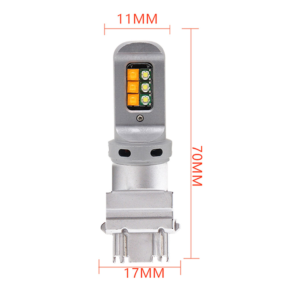 2pcs Car Led Brake Light 2-color Light 12smd 3535 Turn Signal Decoding Anti-stroboscopic Light 3157