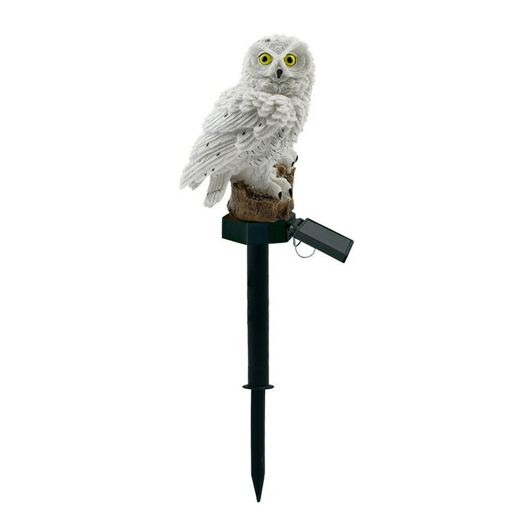 Waterproof Owl Shape Solar Resin Lawn Lamp for Outdoor Courtyard Decor White