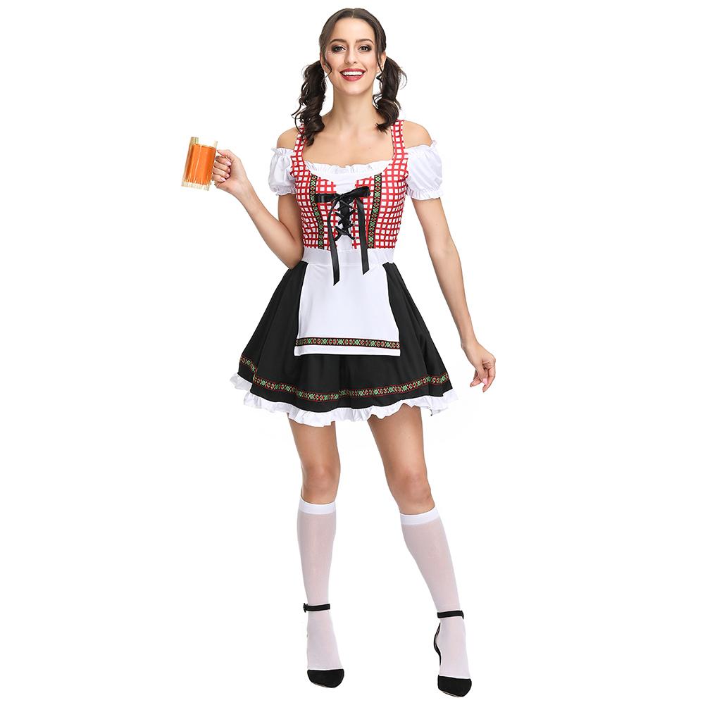 Women Oktoberfest Style Fashion Maid Dress Costume Beer Festival Dress Suit 4299_L