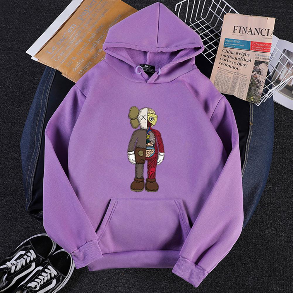 KAWS Men Women Hoodie Sweatshirt Cartoon Standing Doll Thicken Autumn Winter Loose Pullover Purple_L