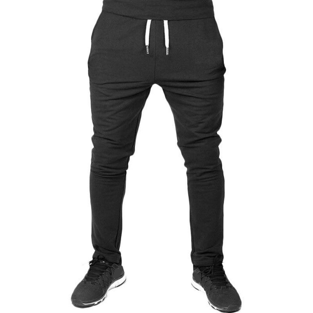 Men Solid Color Gym Fitness Casual Pants black_M