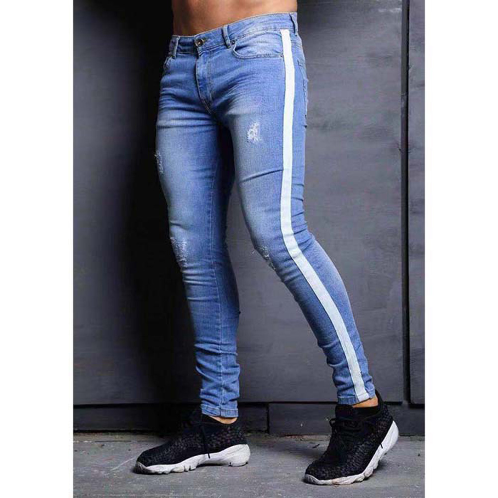 Male Jeans with Knee Holes Slim Trousers Small Feet and Middle Waist Pants Light blue_XXXL