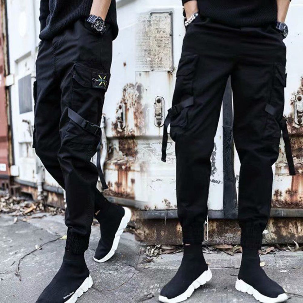 Men Casual Haren Trousers Middle Waist Solid Color Style for Sports Daily Wearing 603# _M
