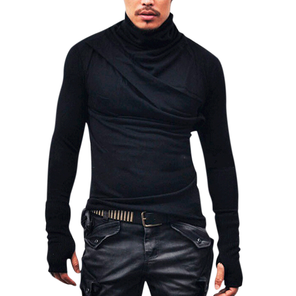 Men Fashion Heap Collar Shirt Super Long Sleeve with Gloves Casual Shirt Solid Color Tops black_XXL