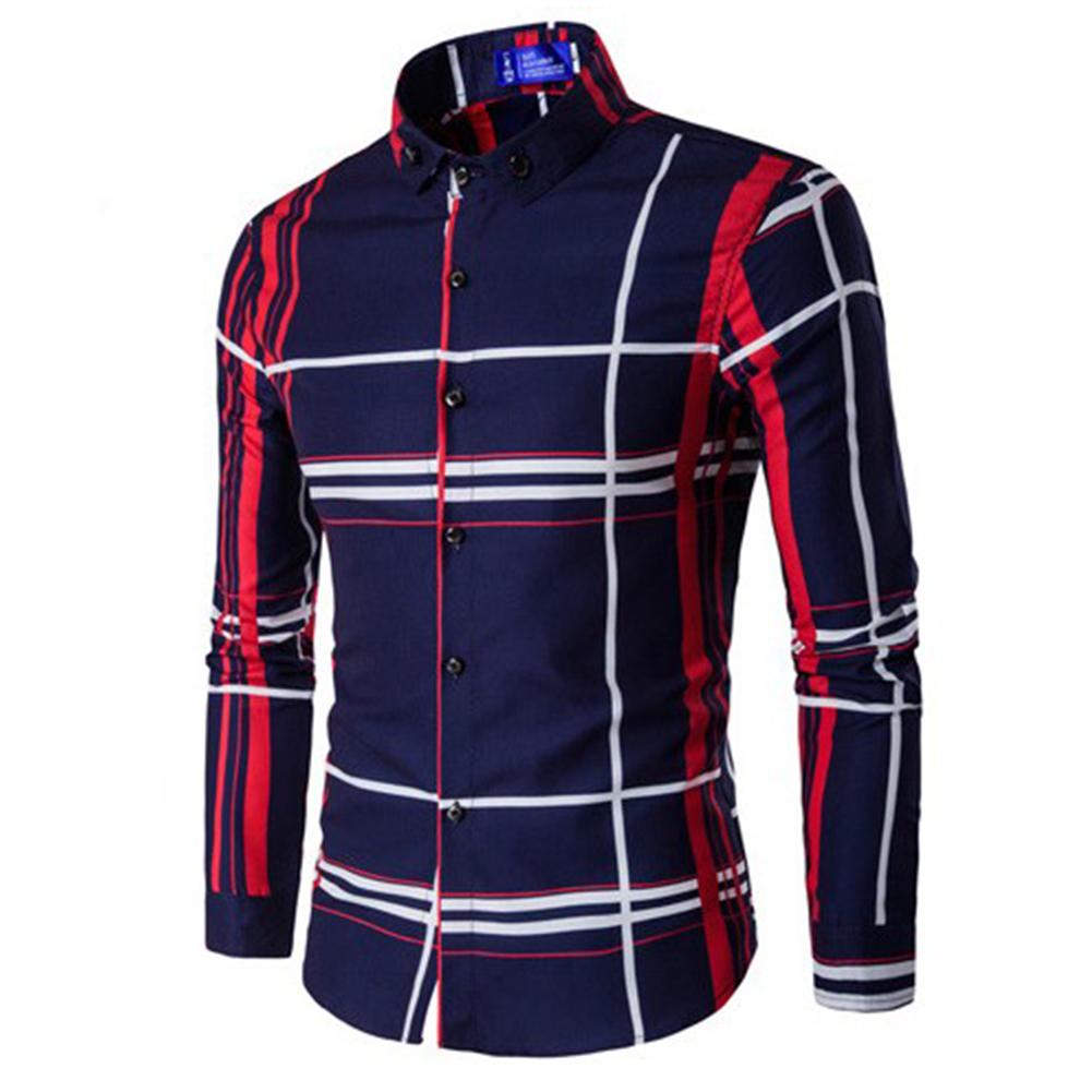 Men Fashion Digital Print Large Plaid Long Sleeve Shirt Tops Navy_XL