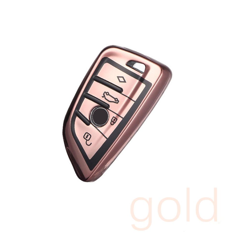 TPU Car Key Cover Button Start Smart Modle Key Case Shell for BMW 525li 1 2 5 series X1 X2 X3 Rose gold