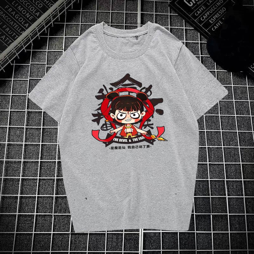 Male Leisure Top with Nezha Cartoon Pattern Decorated Shirt Casual Pullover for Man Nezha gray_XXL