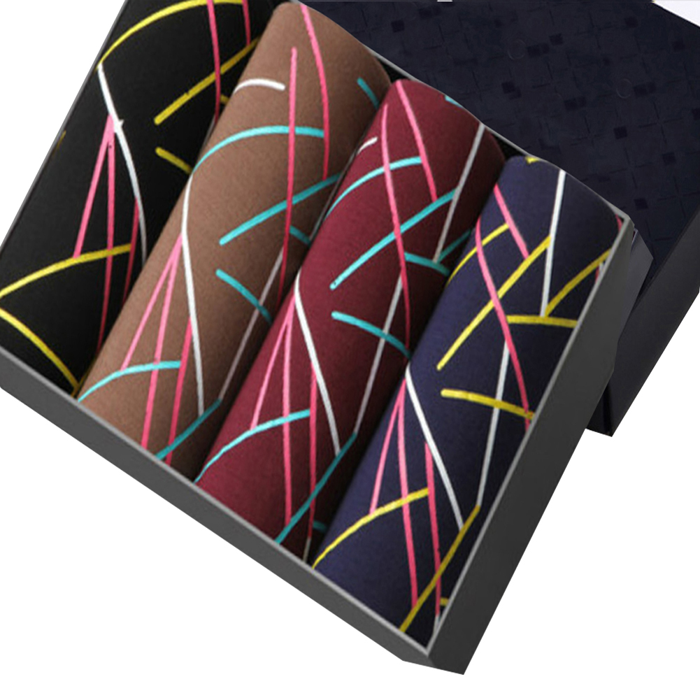 4pcs/set Man Box-packed Fashion Breathable Underwear Colorful Boxers geometric_XL