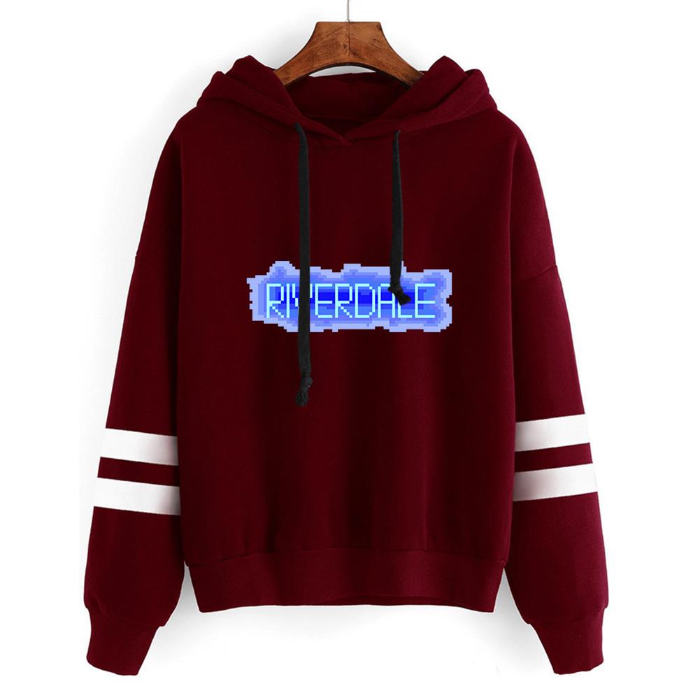 Men Women American Drama Riverdale Fleece Lined Thickening Hooded Sweater Wine red C_M