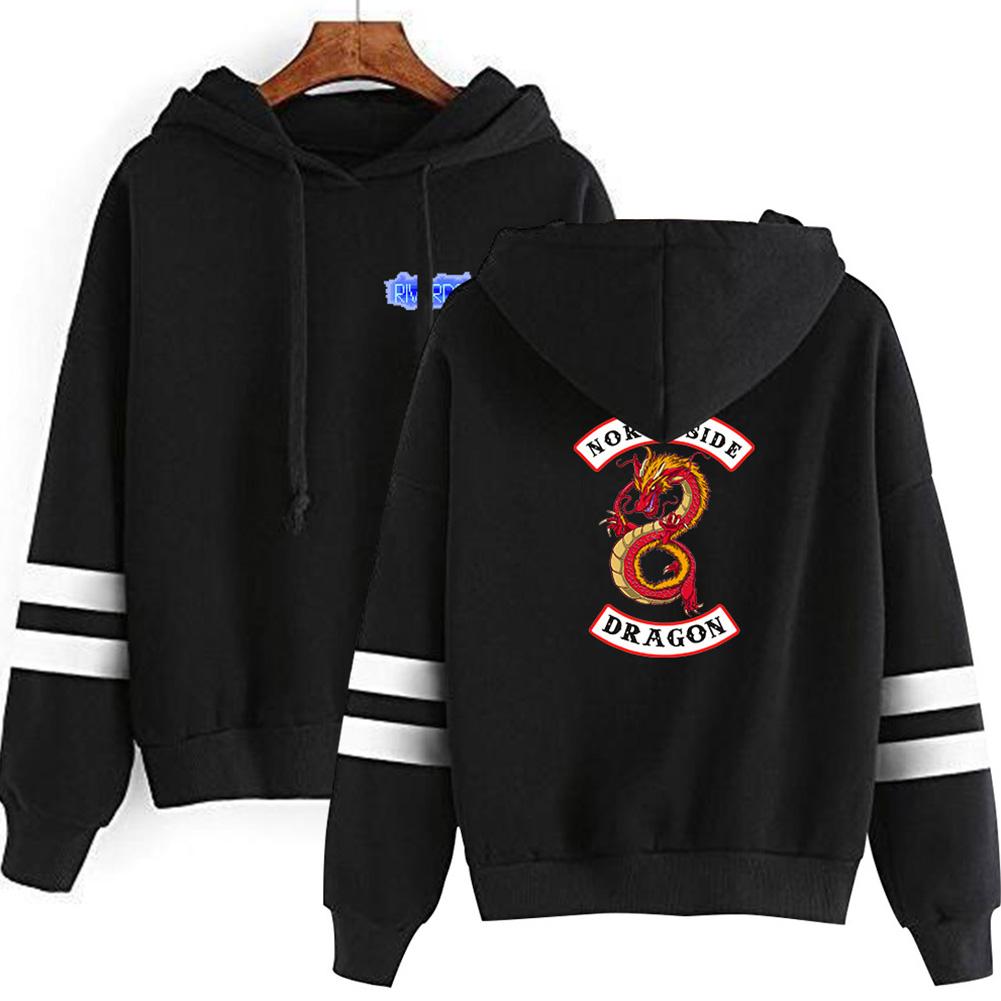 Men Women American Drama Riverdale Fleece Lined Thickening Hooded Sweater Black E_S