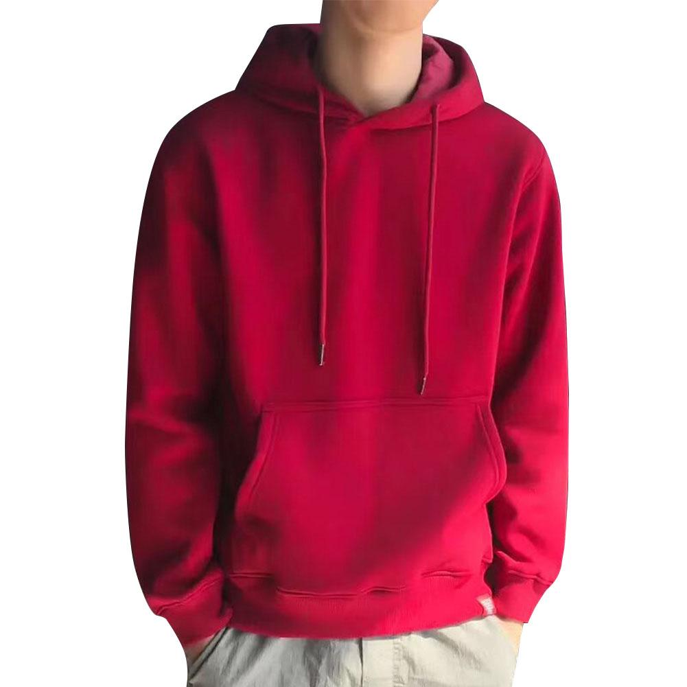 Men Kangaroo Pocket Plain-Colour Sweaters Hoodies for Winter Sports Casual  red_XXXL