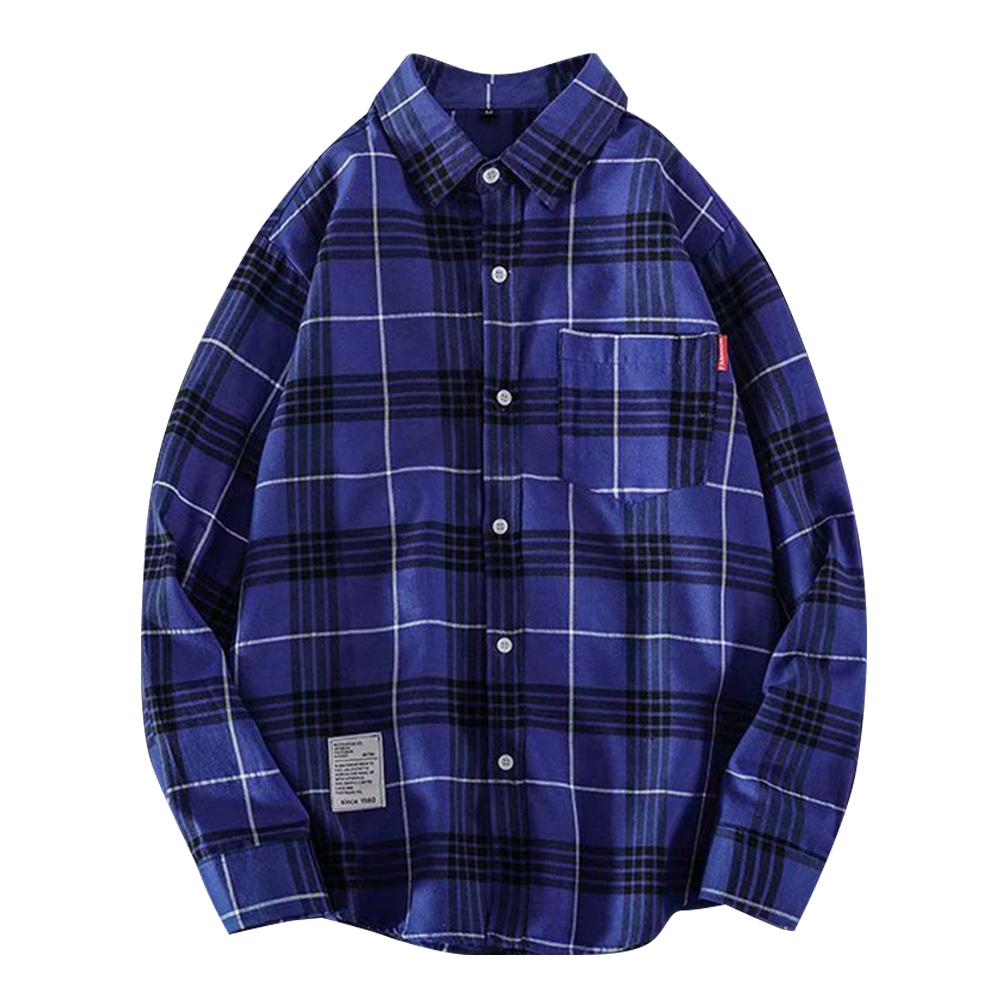 Men's Shirt Casual Long-sleeved Lapel Plaid Pattern Slim Shirt Blue _M