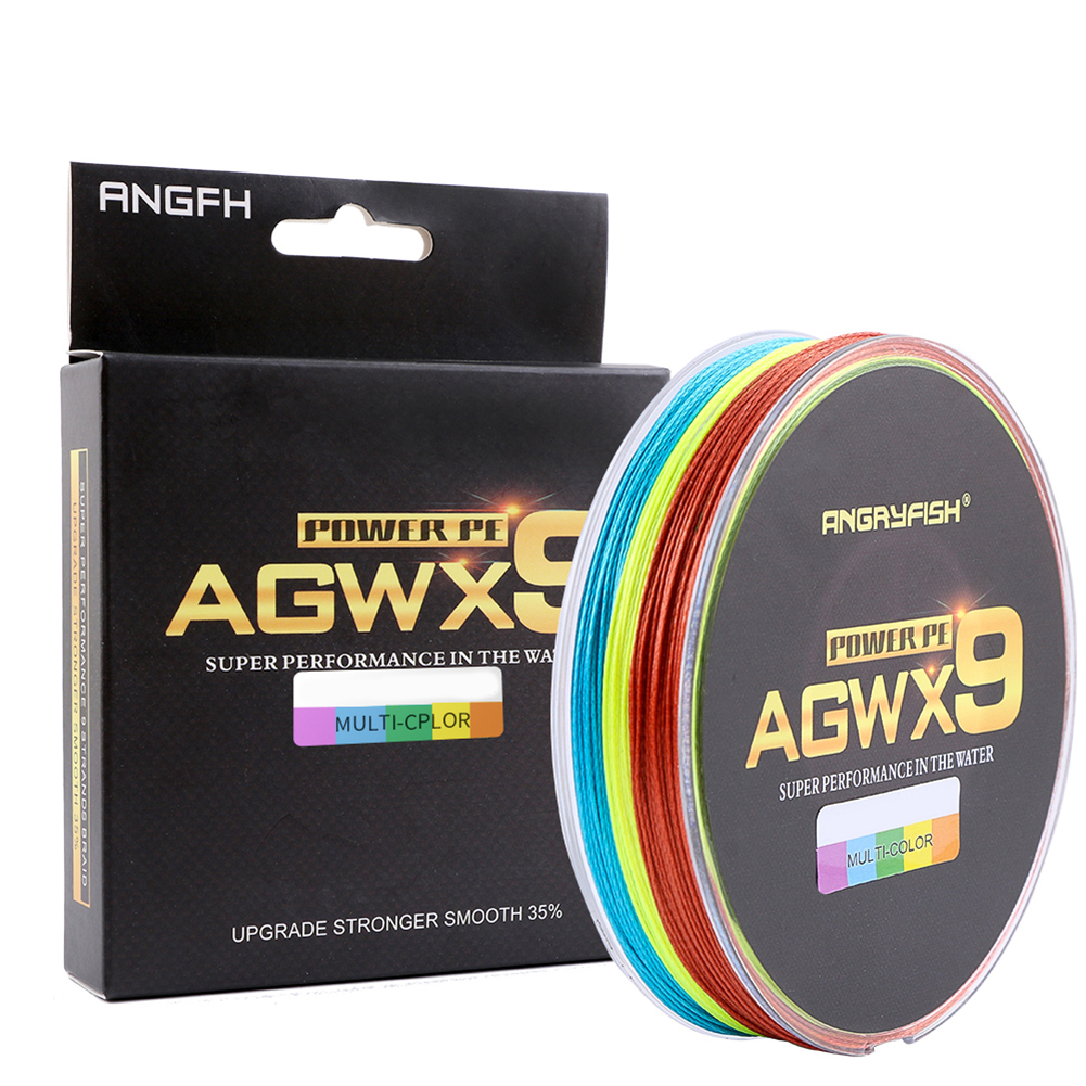 ANGRYFISH Diominate Multicolor X9 PE Line 9 Strands Weaves Braided 300m/327yds Super Strong Fishing Line 15LB-100LB 1.5#: 0.20mm/28LB