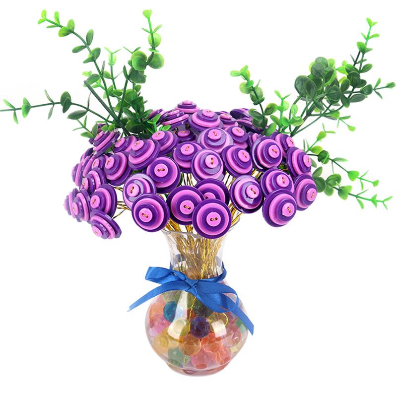Kindergarten Children Creative Handmade DIY Plastic Buttons Bouquet Intelligent Toy