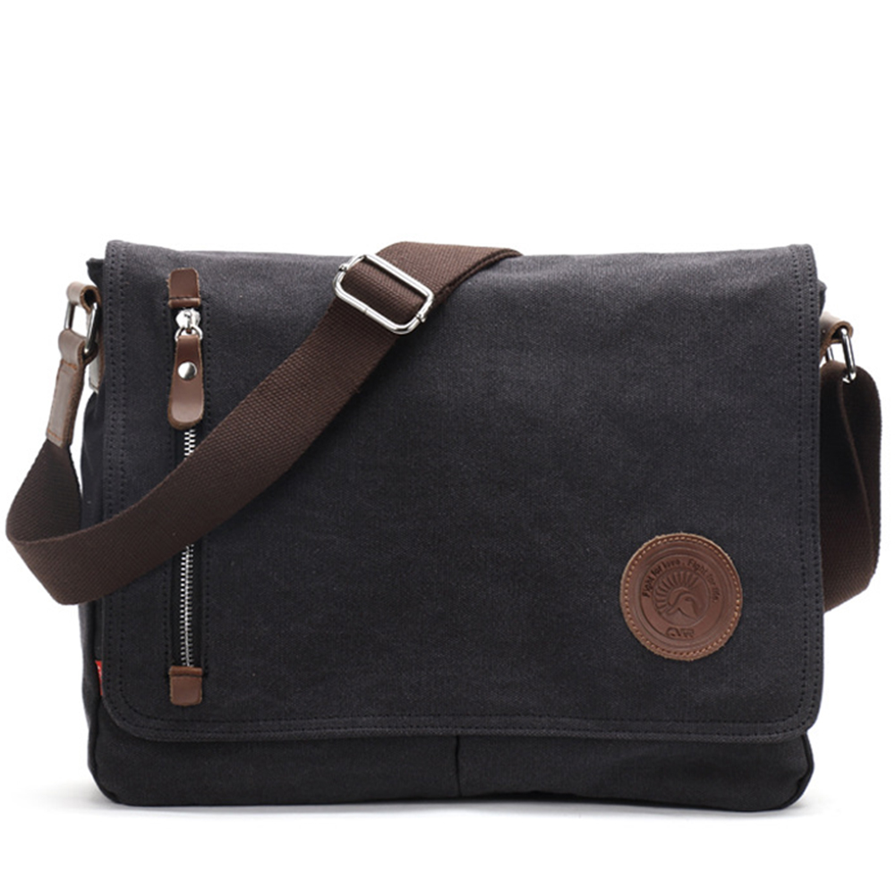 Men Canvas Leather Crossbody Bag Military Army Vintage Messenger Bags Shoulder Bag black