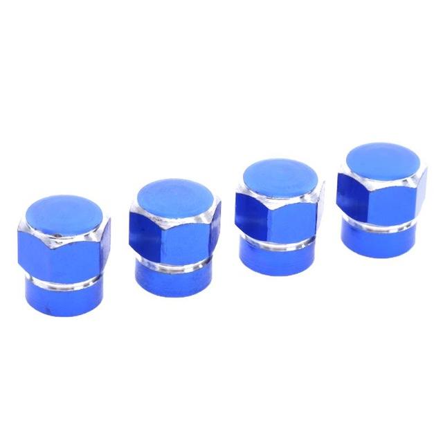 4 Pcs Universal Colorful Car Tire Valve Caps Hexagonal Wheel Tyre Valve Caps for Truck Bicycle Motorcycle ATV blue