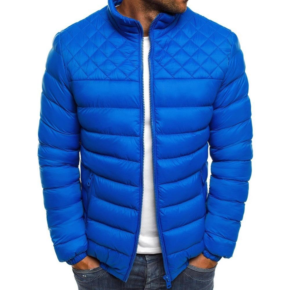 Men's Cotton Padded Clothes Chest Diamond-pattern Zipper Stitching Coat Royal blue _L