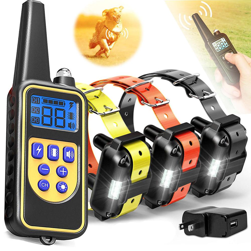 Pet Collar Bark Stopper Remote Dog  Training Device Beep  Vibration Electric Shock Collar 880-3 black orange yellow band_U.S. plug