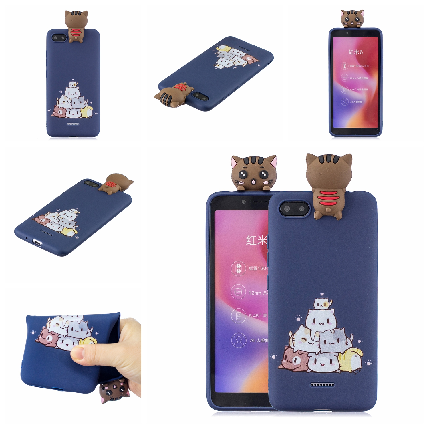 For XIAOMI Redmi 6A 3D Cartoon Lovely Coloured Painted Soft TPU Back Cover Non-slip Shockproof Full Protective Case sapphire