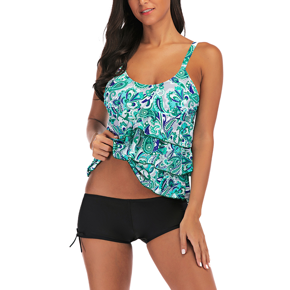 Women Large Size Floral Printing Boxers Top Bikini Set for Swimming green_3XL
