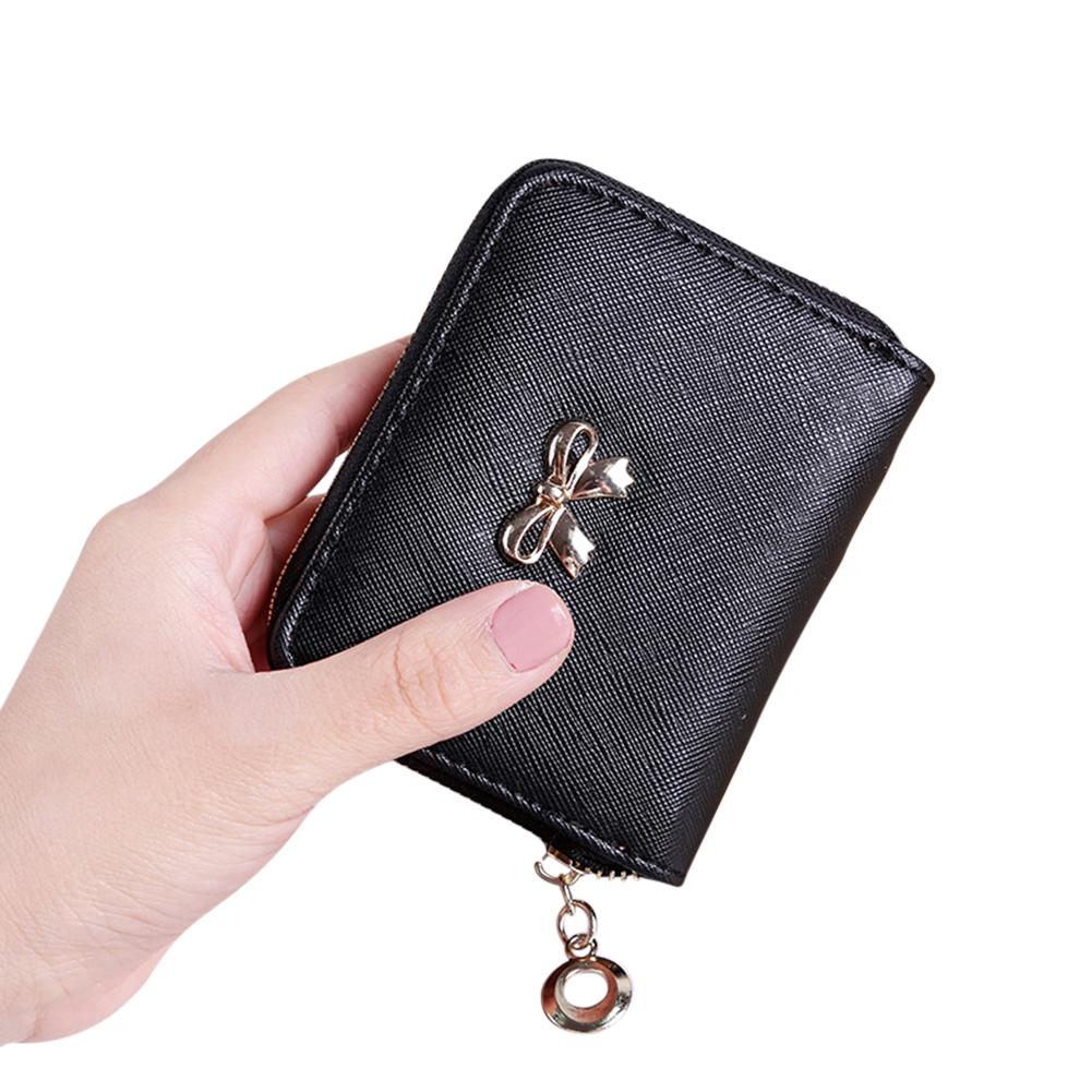 Women Cute Bowknot Zipper Coin Purse Credit Card Case black