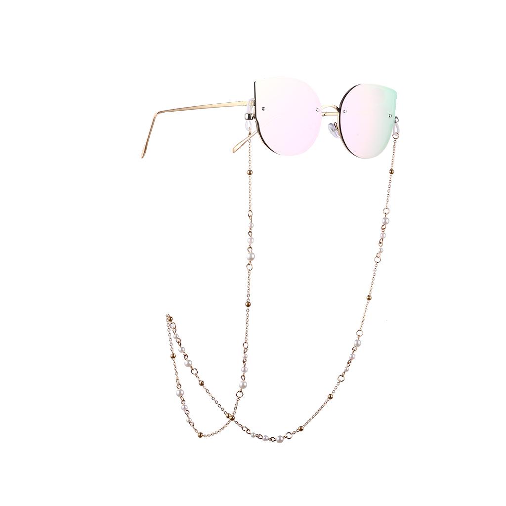 Women Fashion Pearl Beads Nonslip Eyeglass Chain Gold