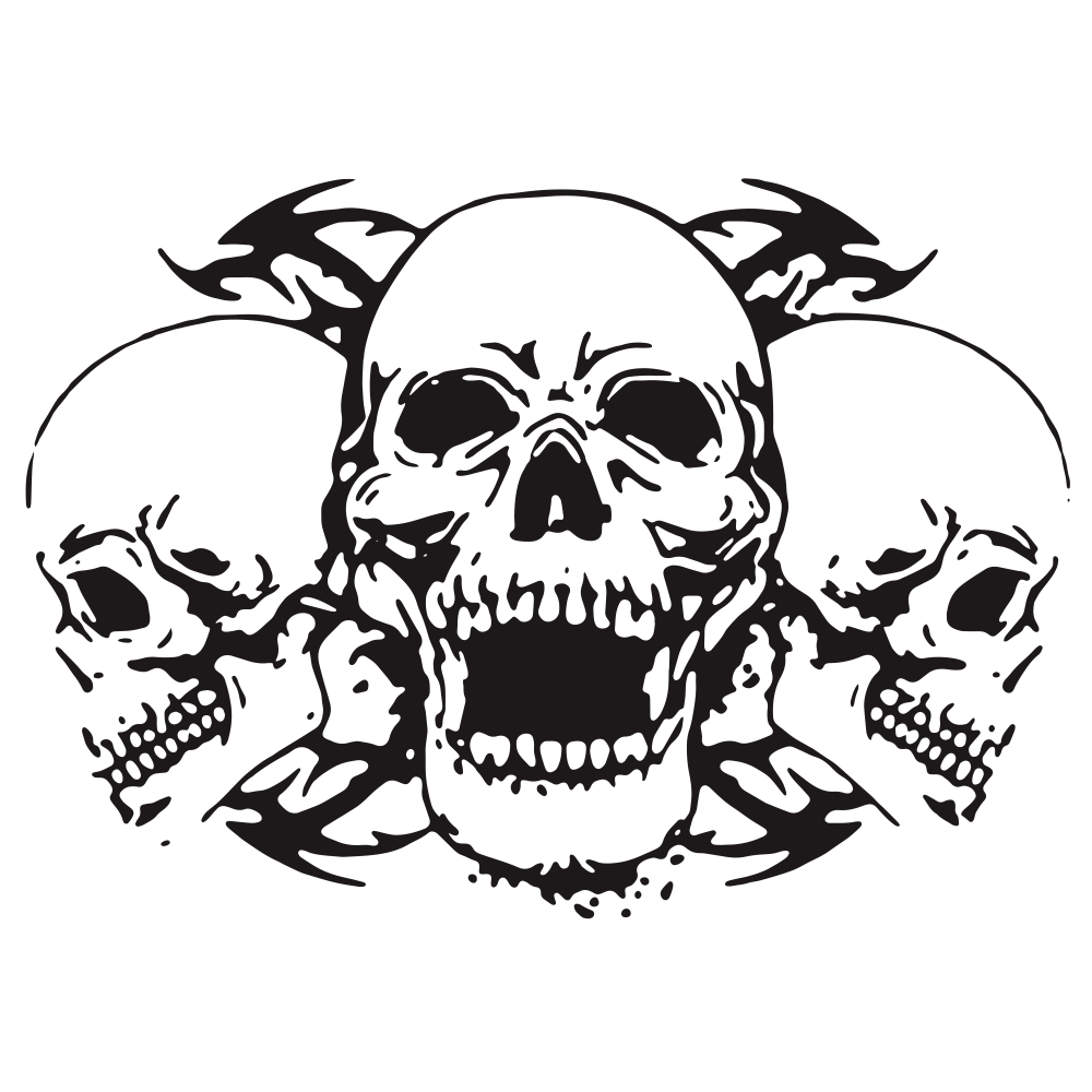 Skull Car Body Racing Side Door Long Stripe Stickers Auto Vinyl Decal black