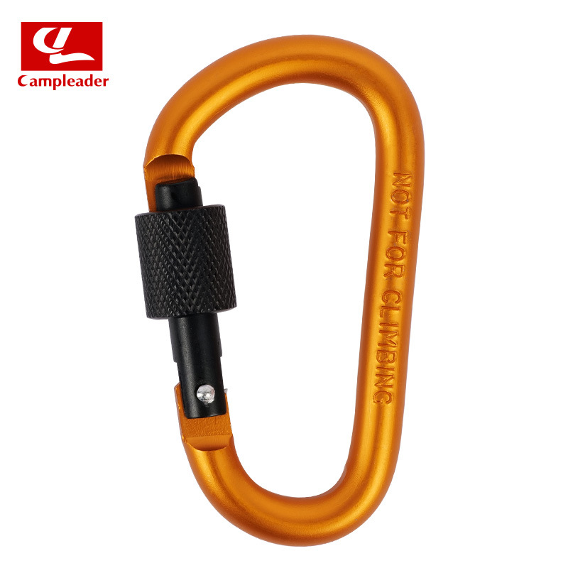 Aluminium Alloy Keychain Climbing Button Carabiner Safety Buckle Outdoor Camping Accessories Orange