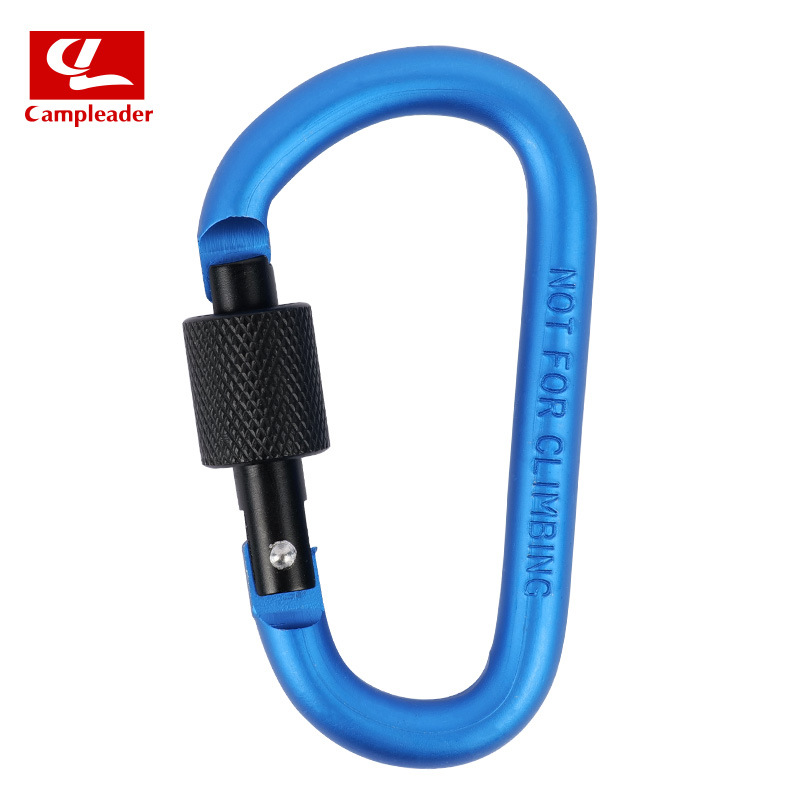 Aluminium Alloy Keychain Climbing Button Carabiner Safety Buckle Outdoor Camping Accessories blue