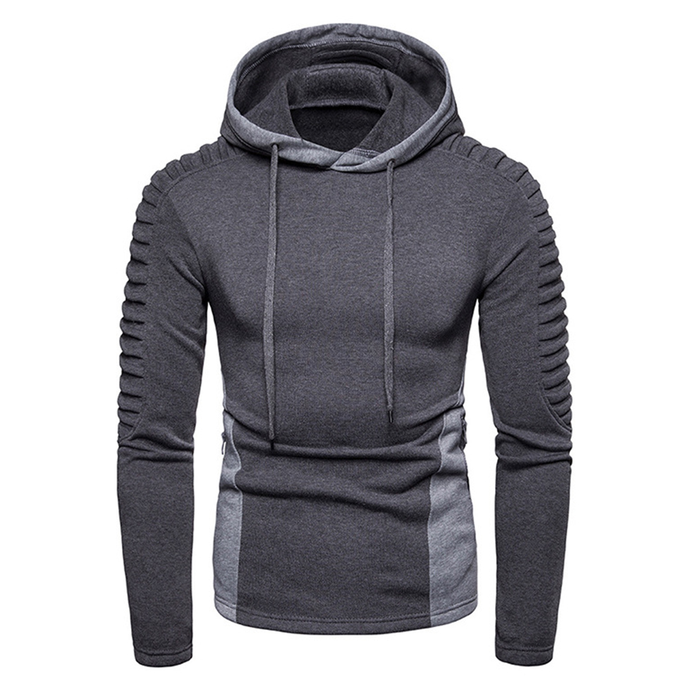 Men Fashion Pleated Cotton Hoodie Pullover Long Sleeve Sweater Tops Gray_L
