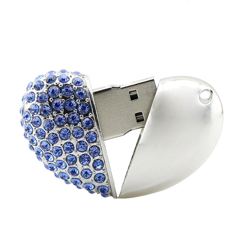 Metal Heart Shape Blue U Disk-8G
