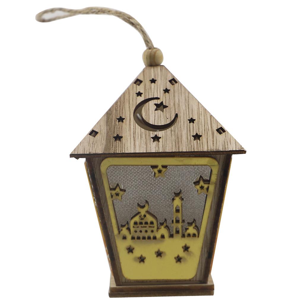 DIY Wooden House with Led Light Pendant Eid Mubarak Ramadan Decoration JM01869