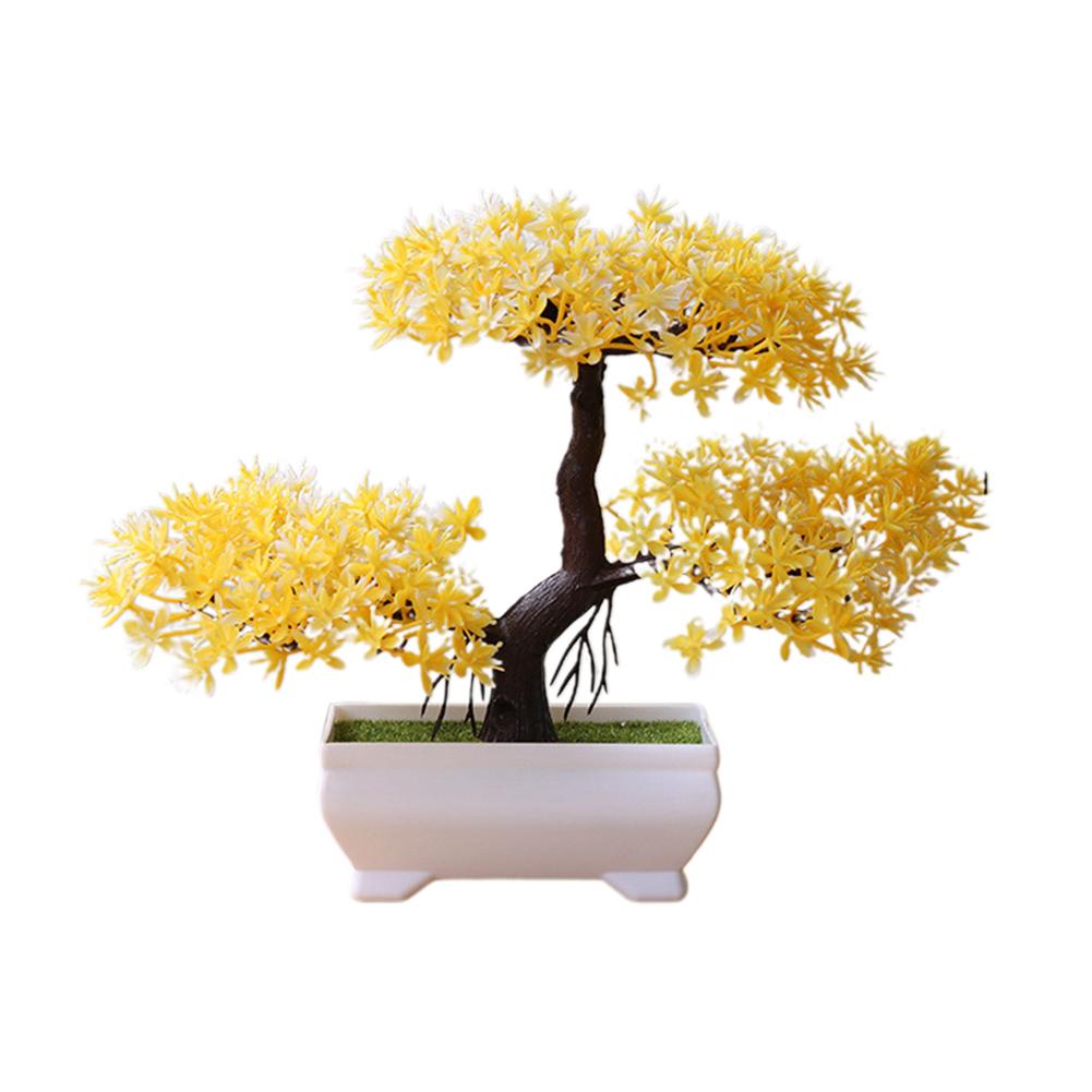 Artificial Chamaecyparis Pisifera Shape Plant Bonsai for Home Dinning Table Ornament yellow