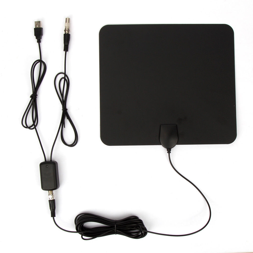Ultra Thin Flat Indoor HDTV Amplified HD TV Signal Antenna 16FT Coax 300 Miles black