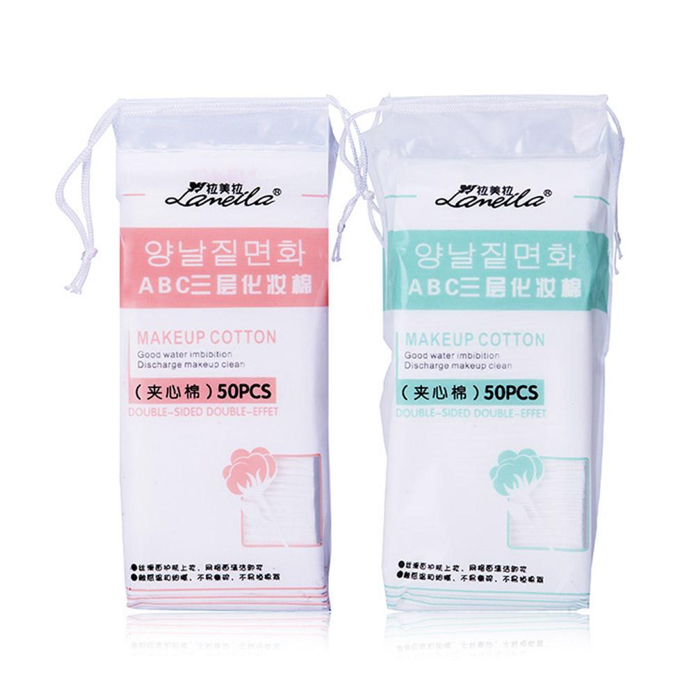 [Indonesia Direct] 50 Pcs/bag Practical Face Makeup Cotton Pads Cleansing Cosmetic Cotton Pads  color random