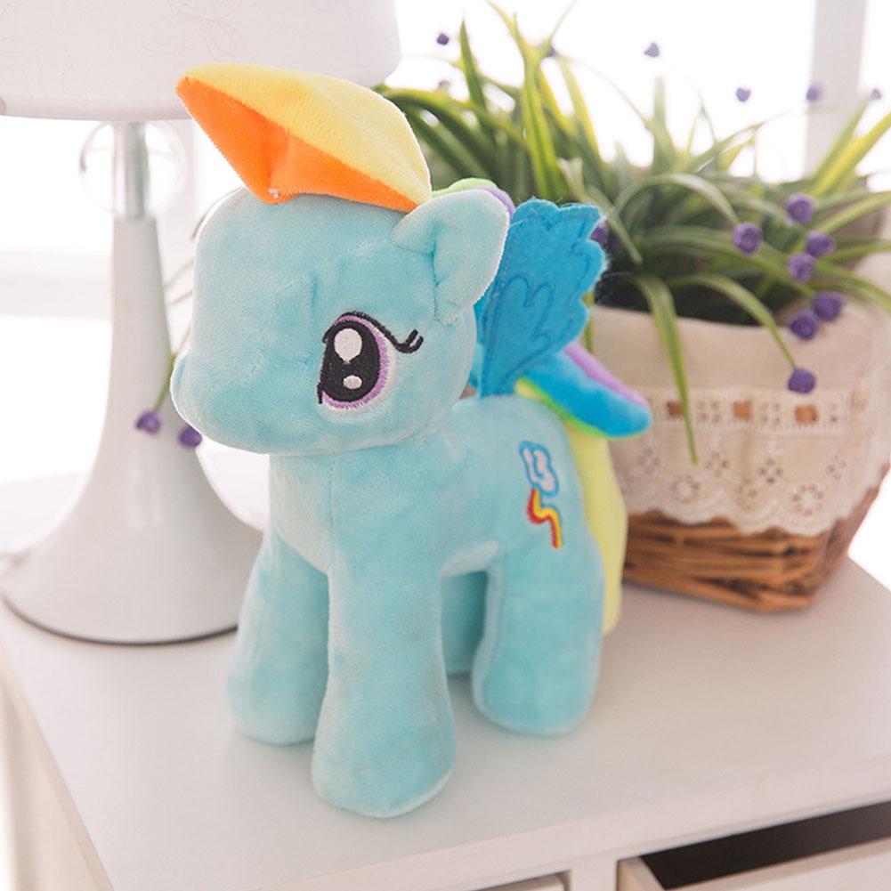 Little Pony Rainbow Plush Soft Kids Hug Stuff Toy 20cm Toy Doll Gift blue