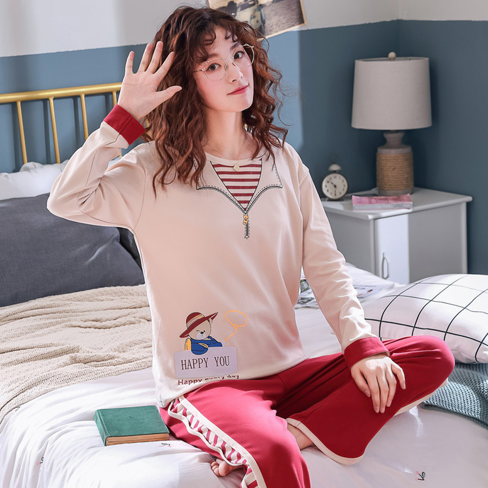 Long Sleeves and round neck Sleepwear Set Loose Casual Home Wear for Man and Woman