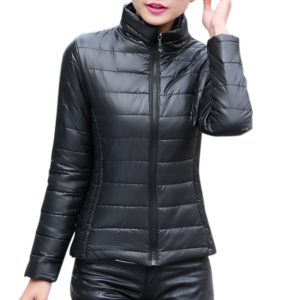 Women Fashion Short Slim Padded Jacket Warm Thicken Cotton Casual Coat Tops black_XL