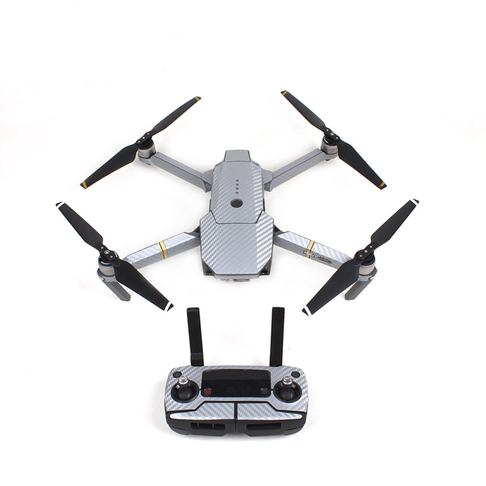 Fashion Waterproof Carbon Fiber Stickers RC Quadcopter Skin Decals Wrap for DJI Mavic Pro Drone Silver