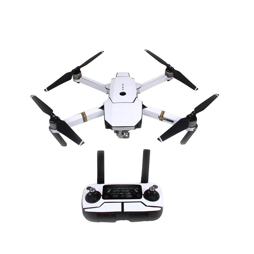 Fashion Waterproof Carbon Fiber Stickers RC Quadcopter Skin Decals Wrap for DJI Mavic Pro Drone White