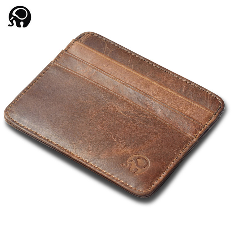 [Indonesia Direct] Mini Wallet Small Leather Open Card Bag Holder Retro Coin Purse Certificate Bag Card Bag