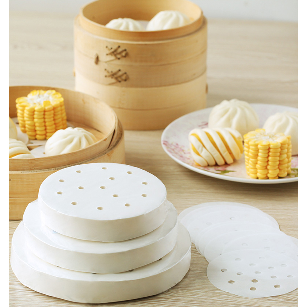 100pcs Round Perforated Steamer Paper Kitchen Steamer Liners Baking Mats 9 inches (23cm in diameter) 100 sheets