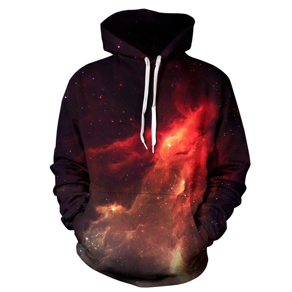 Unisex Fashion 3D Digital Flame Printing Hoodies All-match Chic Drawstring Tops flame_XXL